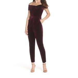 ADELYN RAE Liv Off The Shoulder Velvet Jumpsuit
